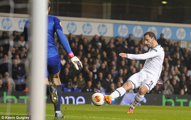 Clear ahead: Soldado grabbed a brace within 16 minutes as Spurs raced into a 2-0 lead