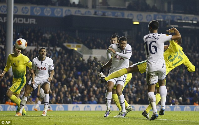Scare: Anzhi's Ewerton (right) scores to halve the deficit at White Hart Lane