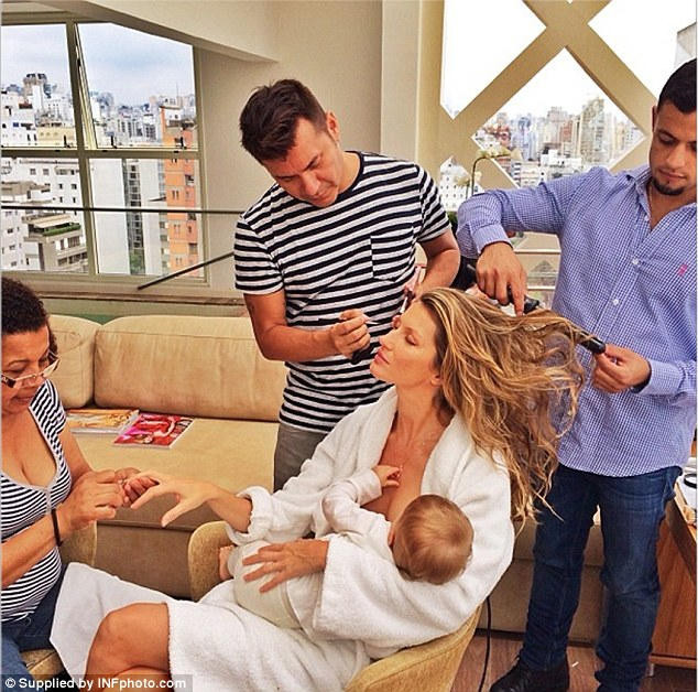 Multi-tasking model: Supermodel Gisele posts a photo on her Instagram page of her breastfeeding her daughter while a team of stylists set to work