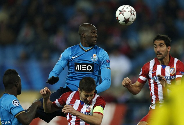 Heading for England? Porto's Eliaquim Mangala was watched by David Moyes in the clash with Atletico Madrid