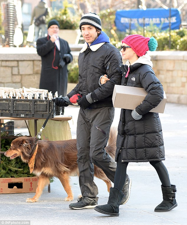 Happy couple: The 35-year-old actor and 28-year-old actress have been dating for about four months and are frequently seen out and about with Amanda's dog