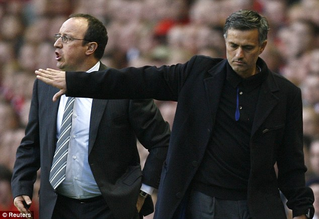 The feud abides: Mourinho has suggested that the squad he inherited from Rafa Benitez (left) was not in good shape