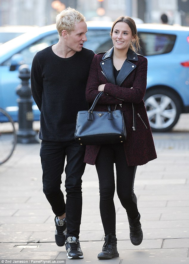 Back on track: Made In Chelsea stars Lucy Watson and Jamie Laing enjoyed a cosy lunch date on Kings Road on Thursday just days after viewers saw their South Africa trip end in tears