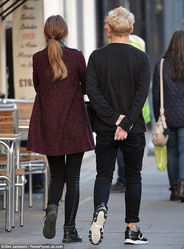 On and off romance: Lucy and Jamie sported matching trainers for their low key lunch in Chelsea