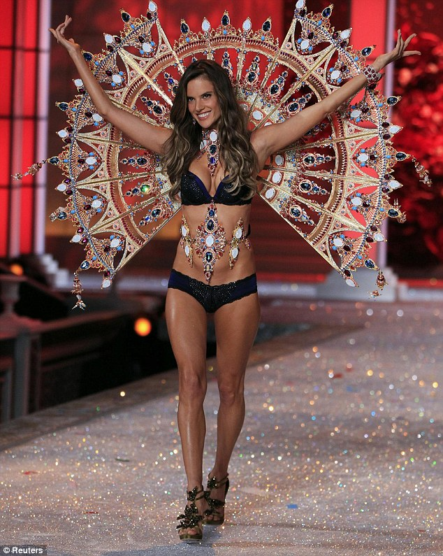 Model Alessandra Ambrosio presents a creation during the Victoria's Secret Fashion Show at the Lexington Armory in New York  2011