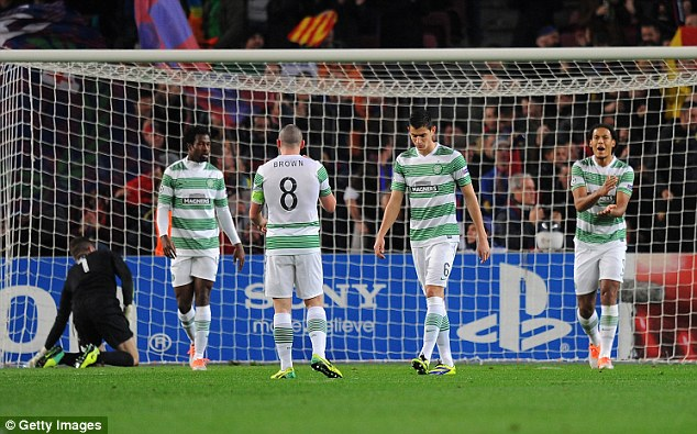 Outclassed: Celtic were outgunned in all departments by Barca in their 6-1 loss at the Camp Nou