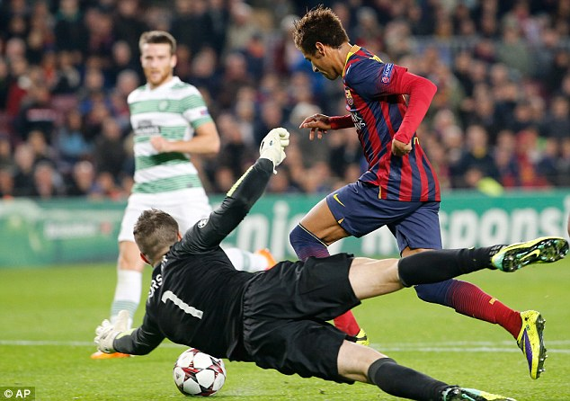 Chasing stars: Celtic keeper Fraser Forster dives at the feet of Barcelona's Neymar in the 6-1 defeat
