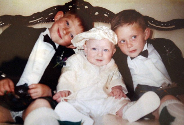 Family matters! The star when he was seven, with his sister Antonia and brother Lewis