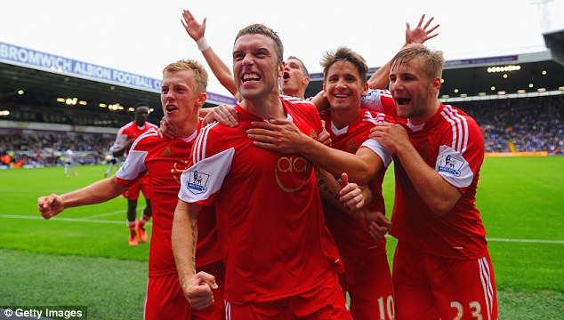 Leading man: Rickie Lambert (centre) has shown his quality in the Barclays Premier League
