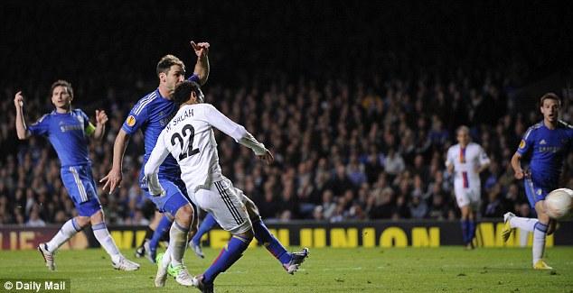 Hit man: Salah scores at Stamford Bridge last season to give Basle the lead in the Europa League