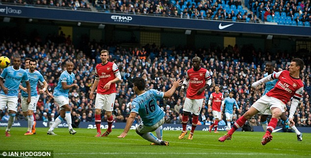 Closing in: The Argentine provided a smart finish from a City corner in the 14th minute