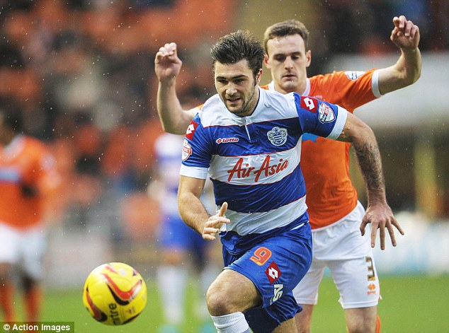 In the goals: QPR's Charlie Austin was on target against Blackpool as his side went top of the table