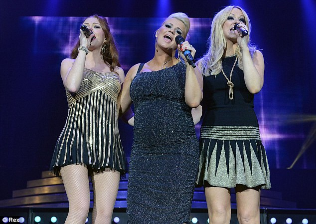 Whole again: Kerry looked chic in her sparkling asymmetric dress alongside Natasha Hamilton and Liz McClarnon