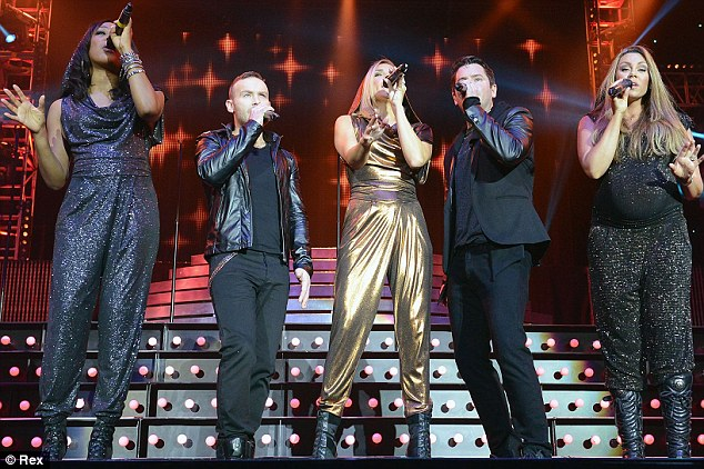 Joining forces: Michelle joined her Liberty X bandmates for their set during the star-studded show