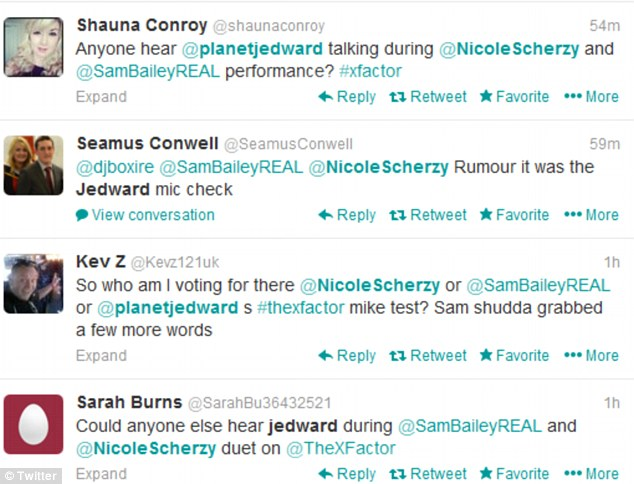 Strange: People took to Twitter to discuss the voices behind during Sam and Nicole's performance, with many recognising the voices as Jedward
