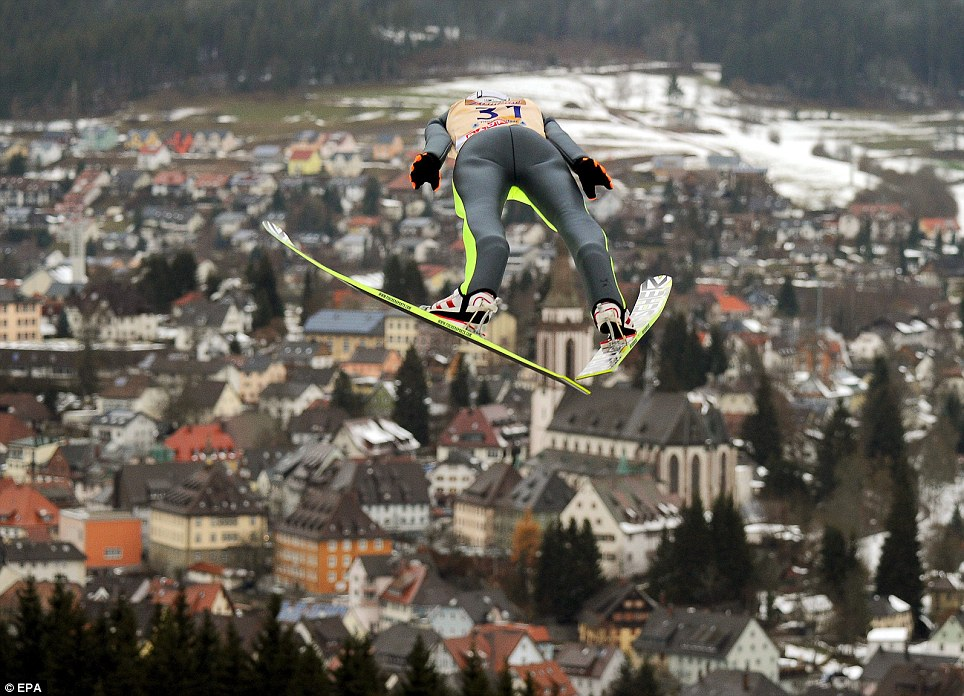 High jump: Kamil Stoch in action during the FIS Ski Jumping World Cup at the Hochfirst ski jump in Titisee-Neustadt, Germany