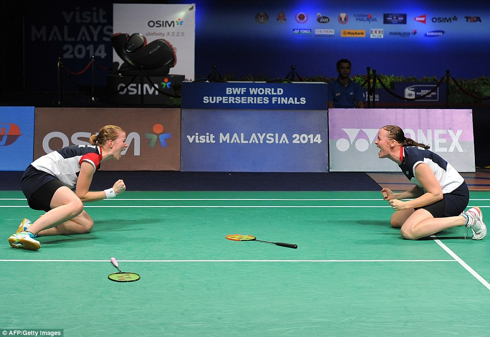 Joy: Denmark's Christinna Pedersen (left) and Kamilla Rytter Juhl celebrate after defeating Ma Jin and Tang Jinhua of China during their women's double final at the BWF badminton World Superseries Finals in Kuala Lumpur