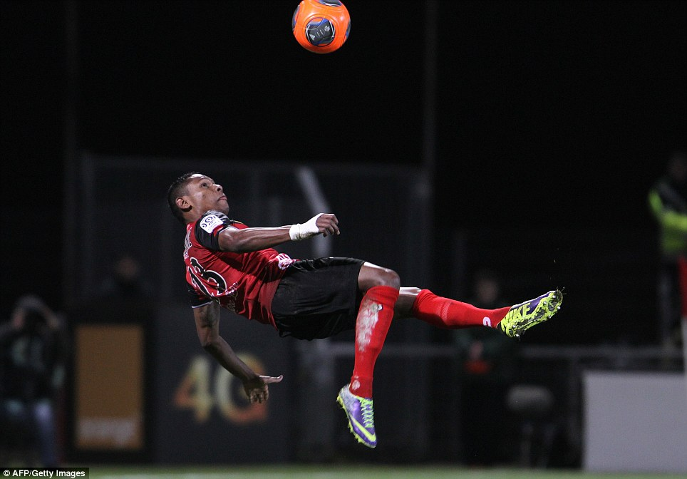 Flying winger: Guingamp's French forward Christophe Mandanne attempts an overhead kick during the French Ligue 1 match between Guingamp and Monaco at the Roudourou stadium in Guingamp