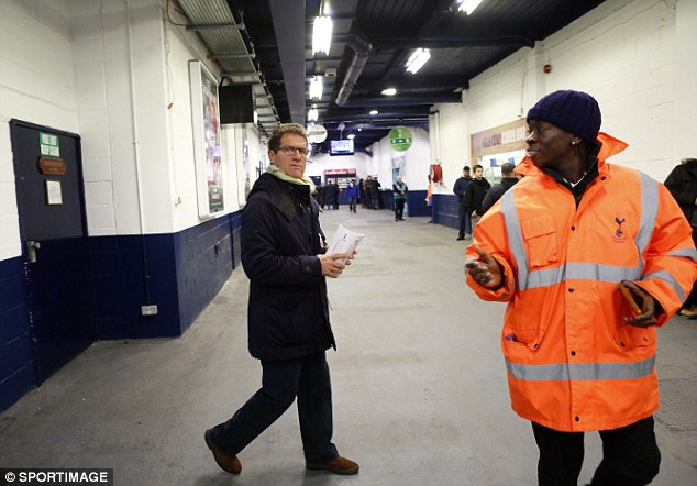Taking over? Former England boss Fabio Capello was trying to find his seat at White Hart Lane