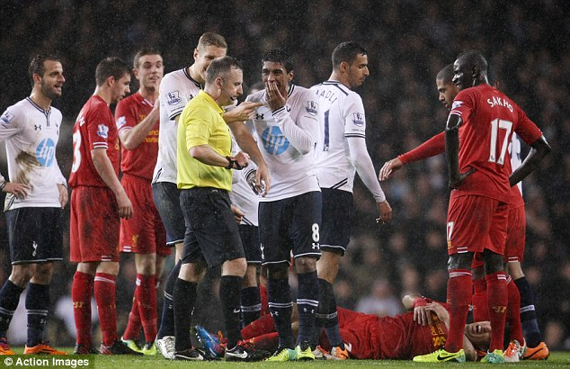 Incredulity: The Brazilian couldn't believe the decision from referee Moss