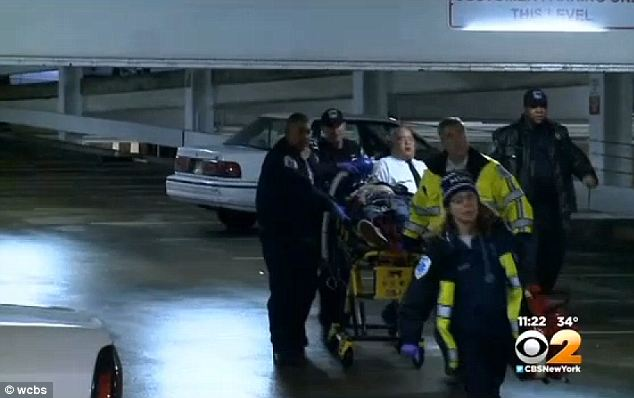 Horrific: A man was rushed to a New Jersey hospital Sunday evening after he was shot in the head during an apparent carjacking in the parking garage of an upscale shopping mall