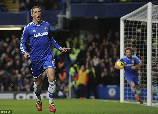 Boost: Chelsea's Fernando Torres celebrates rare goal against Crystal Paalce