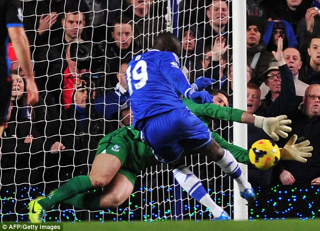 Frustrated: Chelsea's Demba Ba is denied by Palace keeper Julian Speroni