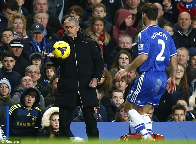 Focused: Chelsea manager Jose Mourinho pases the ball to Branislav Ivanovic