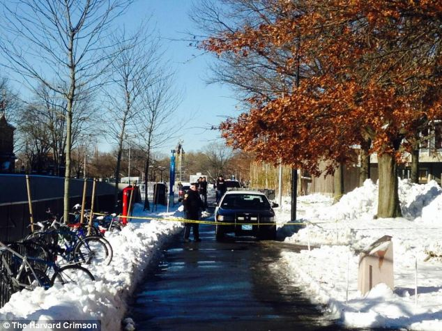 Blocked off: Police block off the entrance to the Science Center, one of the targeted buildings