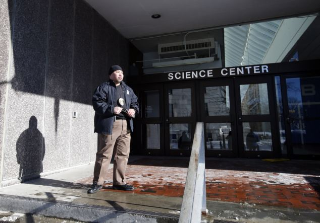 Secured: After a sweep of the buildings, including the Science Center, no explosives were found