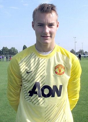 Gloveman: 15-year-old goalkeeper Kjetil Haug had a trial with Manchester United earlier this season
