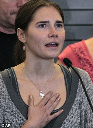 Amanda Knox, pictured after she was freed from prison in 2011, is being tried for a third time for the murder of Meredith Kercher in Florence, Italy