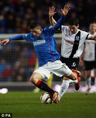Top: Rangers' Fraser Aird holds off Ayr's Brian Gilmour during their Scottish League One match