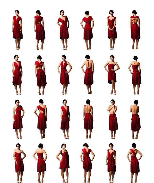 How will you wear yours? The dress can be worn an impressive 50 different ways depending on your mood and the occasion. Here are 12 of the styles, showing how they look from the front and the back