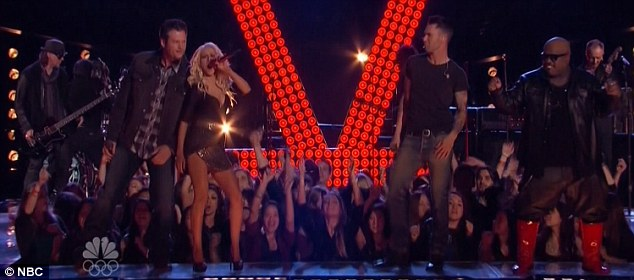 Pouring it on: The judges joined members of Def Leppard to perform Pour Some Sugar On Me