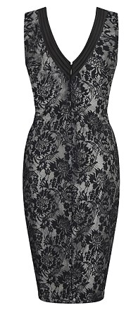 Dress to impress: The 14-piece range is packed with spider web lace and shapes such as the midi length bodycons to reflect the Kardashians love for figure hugging silhouettes (L) lace dress, £75, (C) peach dress, £75, (R) black dress, £75