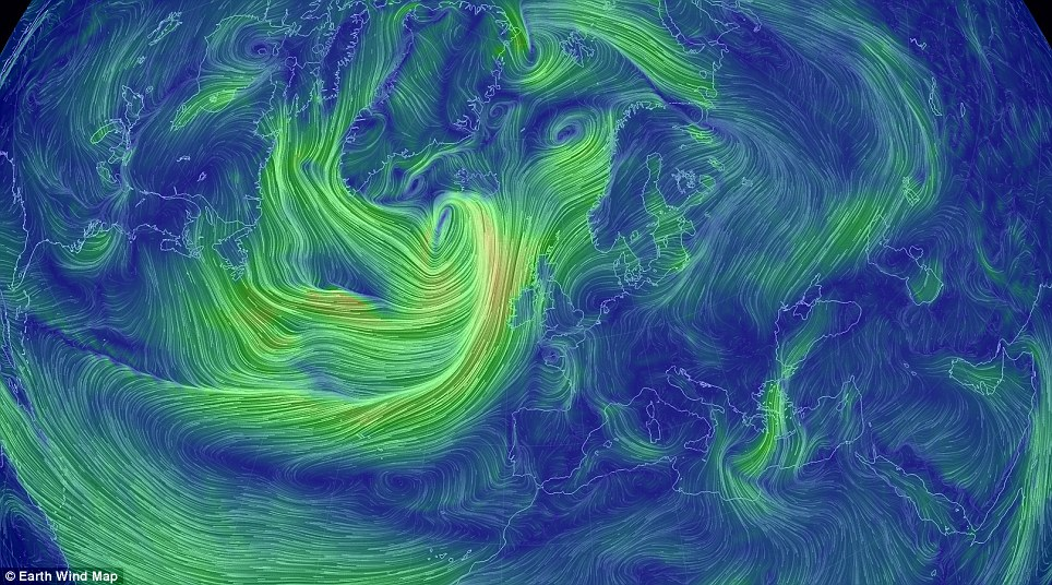 Users can zoom in on the currents, which are colour-coded to show the severity of the wind. Here we see the Atlantic to the west of Ireland swept by powerful gusts