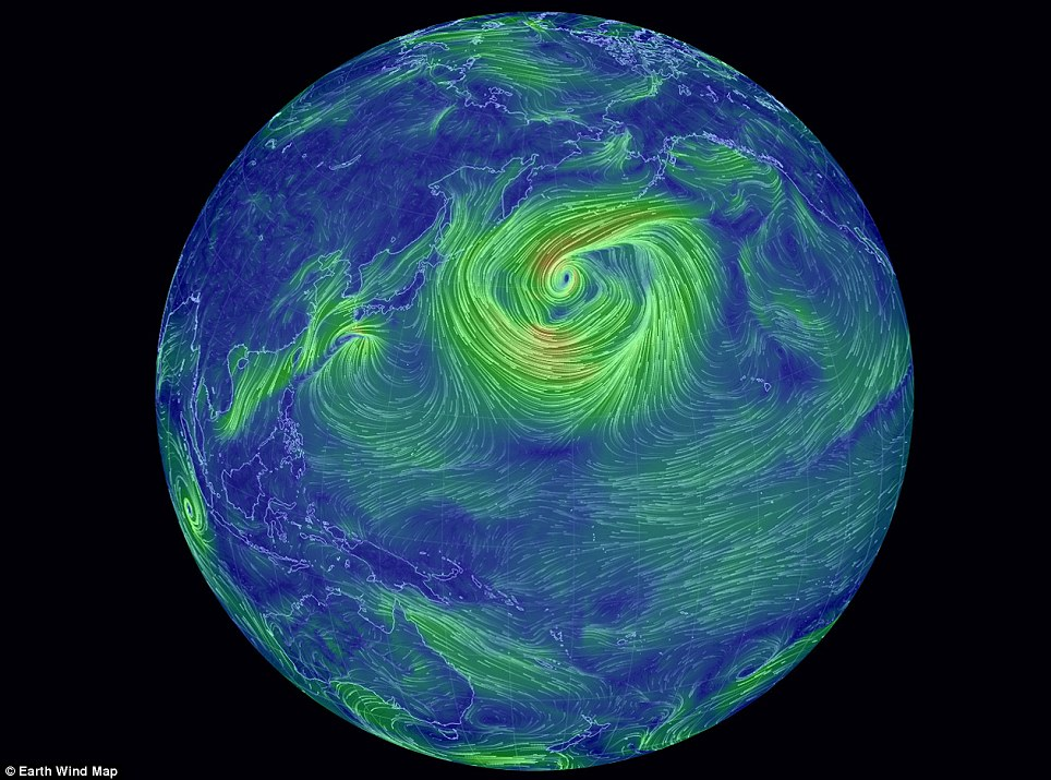 The ocean currents map follows an interactive global wind map (pictured), also created by Mr Beccario. Studied together, they reveal just how unpredictable our planet's weather system can be