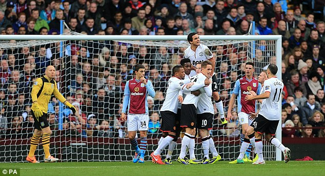Relief: Welbeck is mobbed after ending his drought with his first league goal since August