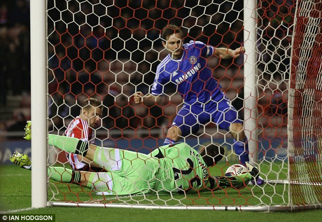 Goal! Frank Lampard had originally put Chelsea ahead a minute into the second half