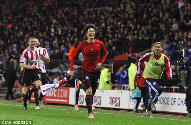 Delight: Ki's goal sparked scenes of jubilation at the Stadium of Light