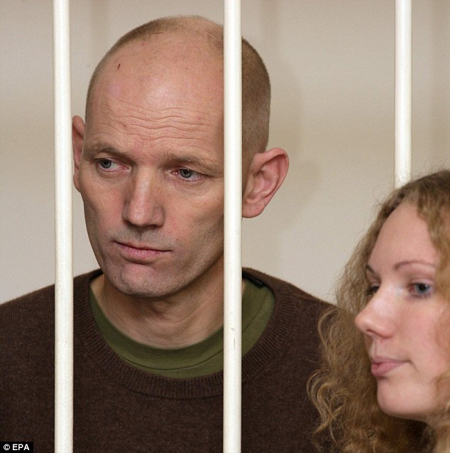 British Greenpeace activist Frank Hewetson pictured at a detention hearing at the Kalininskiy Court in St. Petersburg, Russia