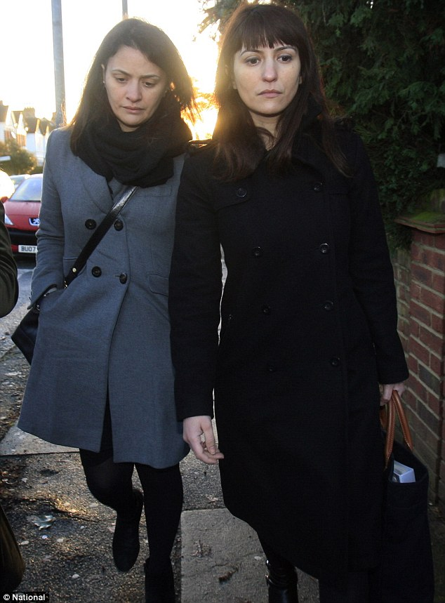 Accused: Francesca (right) is alleged to have spent £580,000 on the card, while her older sister Elisabetta (left) was estimated to be around £105,000. The sisters are seen arriving at court yesterday