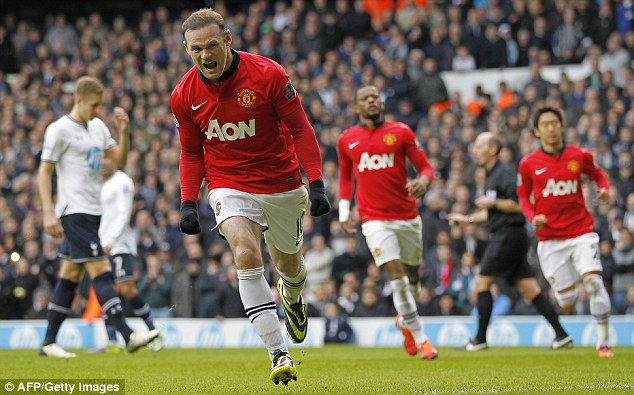 Missing: Rooney (centre) has been in excellent form for United so far this season