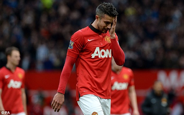 Sidelined: Robin van Persie is also ruled out for up to a month with a thigh injury