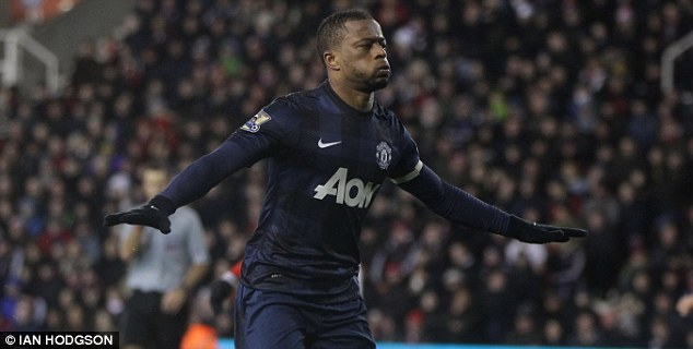 Finish: Patrice Evra scored United's second goal of the night against Stoke