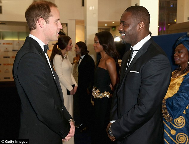 Special screening: Idris Elba chats to Prince William before the premiere of his film Mandela: Long Walk to Freedom