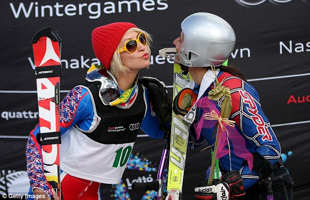 Competition: Heather Mills, who lost half her leg in 1993, stands with first place winner Melanie Schwartzc after competing in the Women's Slalom in New Zealand in August of this year
