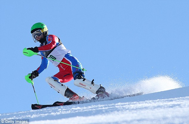 Competing: Heather Mills competing in the women's slalom in New Zealand this year
