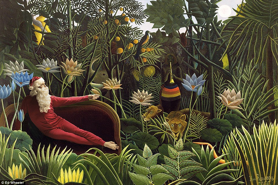 'Homage to the original': Father Christmas lounges around in the jungle in this adapted version of Rousseau's The Dream